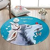 JIELUG Teppich Kinder Hund Runde Teppich Super Weich Gepolsterte Rutschfeste Teppich Pad Wohnzimmer Schlafzimmer, 60 cm