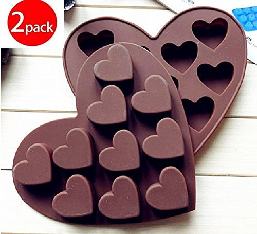 Cy3Lf Silicone Chocolate Molds Candy Mold & Ice Cube DIY Baking Trays Heart Shaped Jelly Pan 10-Cavity by Cy3Lf (Heart Shaped Ice Cube Trays)