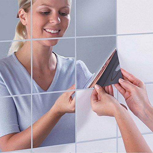 Oval Tv-fach (Lnxd 16 pc DIY Quadrate Spiegel Wand Aufkleber wasserfest Selbstklebend Labyrinth Spiegel Aufkleber Oberfläche TV-Kulisse Küche Badezimmer schmücken, 2 Dmm)