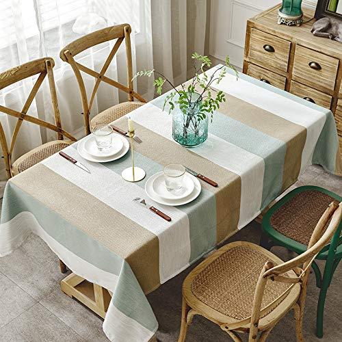 LYDCX Nordic Mittelmeer Tischdecke Blau Und Weiß Gestreiften Kunst Schreibtisch Wohnzimmer Couchtisch Tischdecke Baumwolle Kaffee Blau 130X180Cm