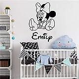 Mickey Mouse Wall Sticker Decal Minnie Mouse Personnalisé Fille Nom Vinyle Stickers Muraux pour Chambres D'enfants Personnalisé Nom Art Decal Bébé