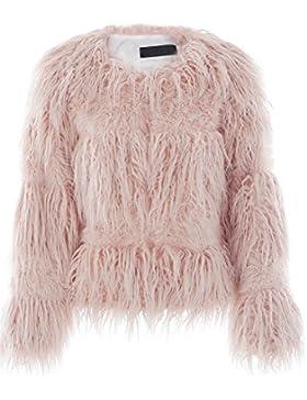 Ropa de invierno calido Simplee mujeres Shaggy faux Rur larga chaqueta de abrigo Abrigos Rosa