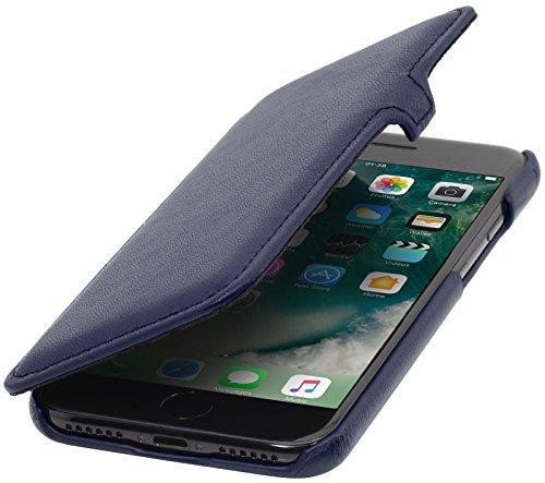 StilGut Leder- Hülle kompatibel mit iPhone 8/iPhone 7 Book Type mit Clip, Dunkelblau Nappa