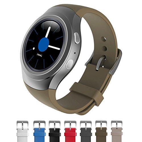 Dokpav® Banda Pulsera Correa de Reloj Inteligente Smartwatch Silicona Deportiva para Samsung Gear S2 - marrón