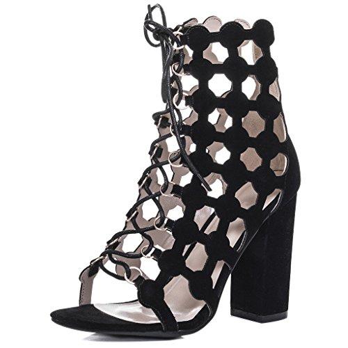 de Simili à Talon Lacet SPYLOVEBUY CHILL Femmes Bloc Noir Daim Chaussures mariée vZq0w