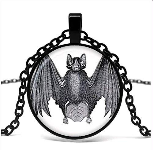 VAWAA Halloween Fledermaus Glas Anhänger Halskette Trick Oder Behandeln Halloween-anhänger-anhänger-anhänger-Halskette.