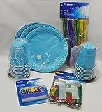 Party Set carribbean blue, 85-teilig, hellblau, Büroparty, Geburtstage, Feiern, Sparset