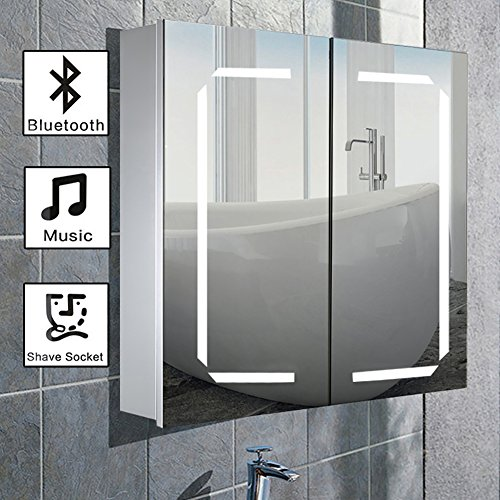 WarmieHomy 650 x 600 mm Morden LED Bathroom Mirror Cabinet with Touch Sensor + Shaver Socket + Demister + Bluetooth