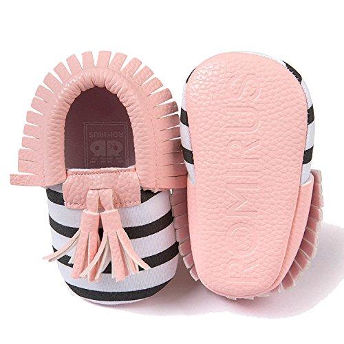 Gosear Niedlich Quaste Stil Kleinkind Baby Kleinkinder Kinder Schuhe mit Weiche Sohle Unisex für Baby Mädchen Jungen PU Schuh Schwarz Größe 13 Schwarz A