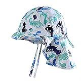 Boomly Baby Sonnenhut Schirmmütze mit Nackenschutz Anti-UV Hut Baumwolle Atmungsaktiv Strandhut Sommer Outdoor Schutz Hut
