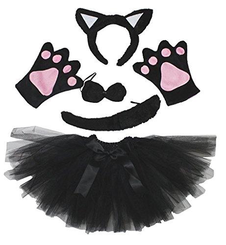 Petitebelle Stirnband Bowtie Schwanz Handschuhe Tutu 5pc Mädchen-Kostüm Einheitsgröße Schwarze - Schwarze Katze Tutu Kostüm