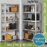 Juskys 2er-Set Lagerregal Eco 2X 180x90x30cm | 1750kg Traglast | 10 Böden | Schwerlastregal Kellerregal Steckregal Metall-Regal Regalsystem