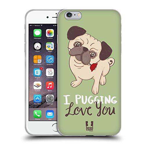 Head Case Designs Sich Wohlfühlen Piper Der Mops Soft Gel Hülle für Apple iPhone 6 / 6s Ich Liebe Dich
