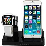 iPhone 6 Cargando Dock, XPhonew 2 en 1 Apple Watch Stand iPhone Cargador Dock Docking Station Holder Display Cradle para iPhone 7/7 Plus / 6S / 6S Más 6/6 Plus / 5S / 5 / SE iWatch 42mm y 38mm Todos los modelos (negro)