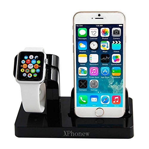 Galleria fotografica Dock per caricabatterie per iPhone, XPhonew 2 in 1 Apple Watch, supporto per stazione di ricarica per iPhone per iWatch/iPhone 7/7 Plus/6S/6S Plus 6/6 Plus/5S/5/SE