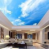 3D Murales Papel Pintado Pared Calcomanías Decoraciones Techo Estilo Europeo Paisaje Cielo Azul Nubes Blancas Hotel Salón Adecuado Techo Decorativo Art º Los Niños Habitación (W)300X(H)210Cm