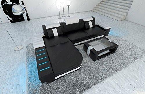 Canapé en cuir Bellagio l-forme avec éclairage LED NOIR - Blanc