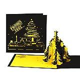 """3D Weihnachtskarte """"Dortmund Skyline - Weihnachten in Schwarz Gelb"""" Weihnachtskarte mit Tannenbaum – für Dortmund-Fans"""