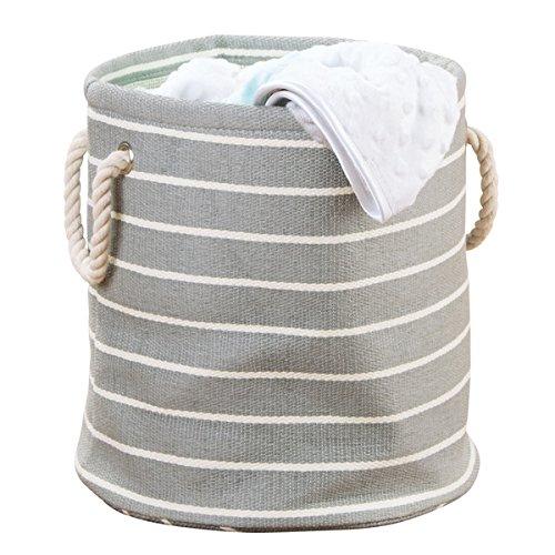 mDesign kleiner Wäschesack – runder Wäschekorb aus Rattan mit Griffen – Multifunktionstasche perfekt für Ordnung im Kinderzimmer – grau/creme
