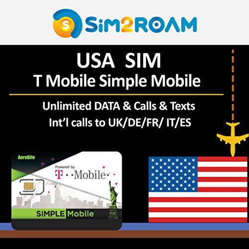 USA SIM KARTE T-Mobile Simple Mpbile 5 Tage Prepaid SIM Karte Unbegrenzt 4G Internet Daten, Anrufe, SMS + Kostenlose Auslandsgespräche nach Deutschland, Netzabdeckung in den USA bundesweit
