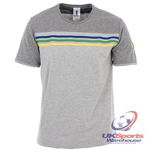 adidas Da uomo Brasile 2014 FIFA Mondo Coppa Tee / T-Shirt (F82334) Grigio - Grigio, XS
