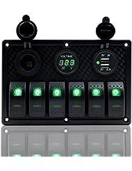 Fxc 6Gang Panneau Interrupteur à bascule avec double chargeur d'alimentation USB 12V-24V pour auto Marine Bateau Remorque (Vert)