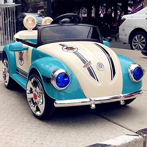 LMYG Schöne Kinder Das Auto, Fernbedienung Vierrädriges Spielzeug Kann in Der Oldtimer-Prinzessin Powder Children Car Music Sitzen, LED-Licht Mädchen, Blau