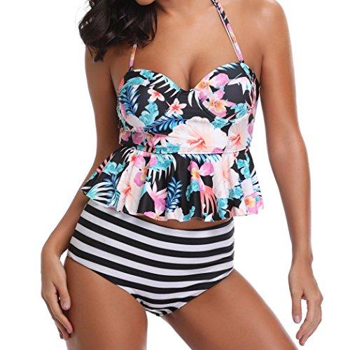 Femme Maillot De Bain deux pièces imprimé floral à rayures, Koly 2018 Été vacances Tankinis Soutien-gorge Push-up Bikini Set Tenues de plage mer piscine cadeau lover Multicolore
