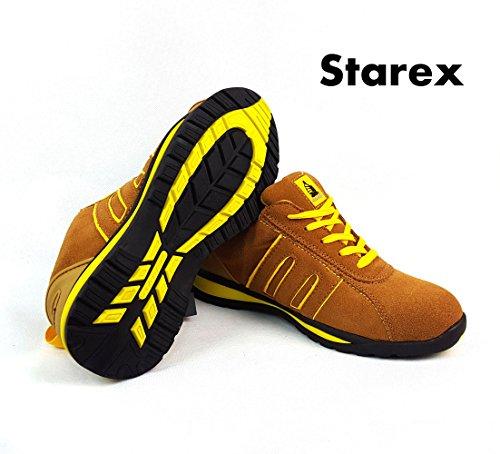 Scarpe antinfortunistiche sportive, calzature da lavoro, Pelle, Yellow/Camel Suede, 10 Yellow/Camel Suede