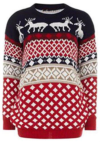 Chocolate Pickle® Neu Herren 70s Retro Thermisch Gestrickt Weihnachten Rentier Pullover Reindeer Aztec 3XL (Pullover Klobige Gerippte)