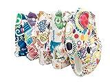 Famicheer Pannolino con motivi in tessuto (con due inserti per pannolini) - Set di 5 - bambine tema