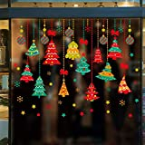 iwallsticker Colorful Christmas Trees Window Sticker Merry Xmas Balls Snowflakes Decals for Show Shop Glass Decorations