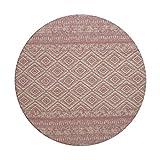 Teppich Wohnzimmer Carpet Geometrie Design Sunny 110 RUG Streifen Rauten Muster Polyester Ø 120 cm Rosa / Teppiche günstig online kaufen