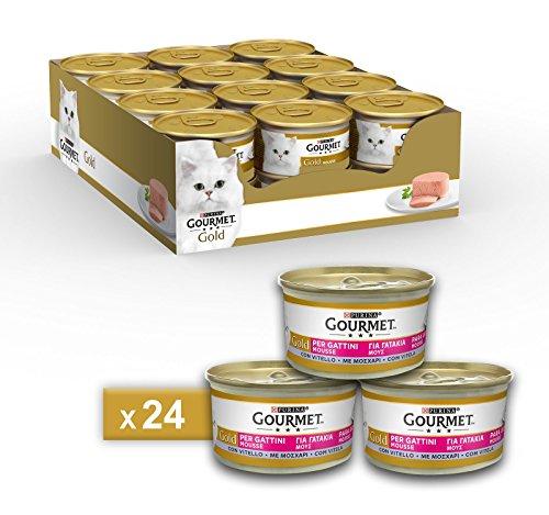 Gourmet Gold Purina Umido Gatto Mousse per Gattini con Vitello, 24 Lattine da 85 g Ciascuna, Confezione da 24 x 85 g