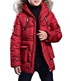Jungen Winter Mantel Jacke Steppjacke Kinder Warme Verdickte Lange Baumwolle Daunenjacken Trenchcoat Praka mit Kapuzen Rot 160