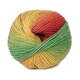 Dabixx Wollgarn, handgewebte Regenbogen Bunte häkeln Kaschmirwolle Mischung Garn Stricken - 1 Ball (50 g) - 10#