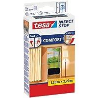 tesa Insect Stop COMFORT Fliegengitter für Türen / Insektenschutz mit selbstklebendem Klettband in Anthrazit / 2 x 65cm x 220 cm