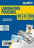 Deskit Laminierfolien 60 Stück, Größe A3, 150 Mikron (60er Pack, A3, 150 Mic)