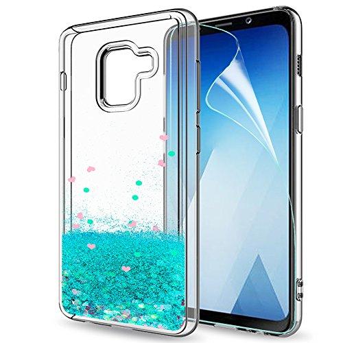 LeYi Compatible with Handyhülle Samsung Galaxy a5 2018 / a8 2018 Glitzer Hülle,Flüssig Treibsand TPU Silikon Bumper Handy Hüllen mit HD-Schutzfolie für Galaxy a8 2018 Case Cover ZX Turquoise