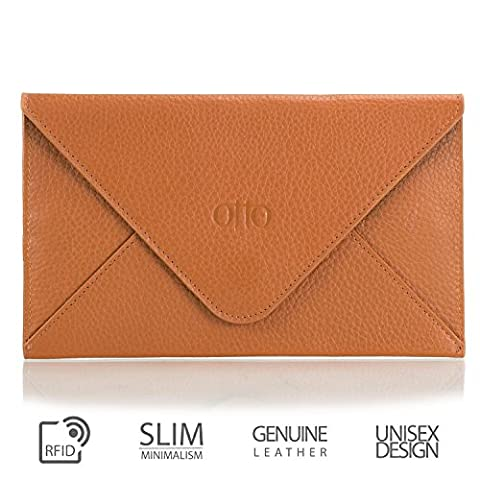 Otto Genuine Leather Wallet  Multiple Slots Money, ID, Cards, Smartphone  Unisex (Light Brown)