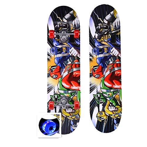 rd Komplett Longboard Double Kick Skateboard Cruiser 8 Lagen Ahorn Deck für Extremsport und Outdoor, 9,72cm ()