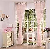 WERM® Schmetterling Tüll Vorhänge Weiß Fenster Vorhänge Einfach für Wohnzimmer Schlafzimmer Bucht Eindow Balkon Löwenzahn Vorhang 1 PCS , width 2.5x high 2.7 [hook a] , pink