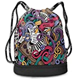 nbvnc Mochila con cordón?Drawstring Backpacks Bags,Music Themed Hand Drawn Abstract Instruments Microphone Drums Keyboard Stradivarius,Adjustable Light Casual Daypack for Shopping Sport Yoga