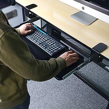 Glitz Star Ergonomics Under Table Keyboard Tray Super Easy Clamp on Mechanism Memory Foam Wrist Rest Straps (Black, 25'')