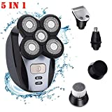 Electric Razor For Men, 5 In 1 IPX7 Waterproof 5D Rotary Shaver Trimmer Grooming Kit, USB Rechargeable Bald Head Shaver With 5 Floating Head, Nose Hair Trimmer, Wet And Dry Dual Use (A)