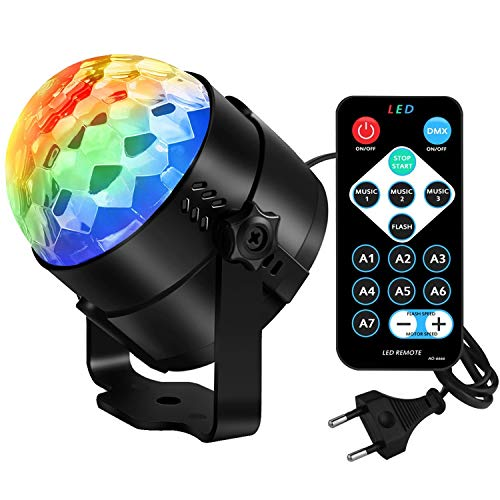 Discokugel Party Disco Licht Musik Lichteffekt LED Mit USB FüR Kinder Geburtstag Xmas Halloween Feier Party Favor Geschenk Spielzeug ZubehöR Camping Dj Tanzen BüHne KTV Beleuchtung Deko , 87*87*97mm (Kinder Für Halloween-feier)