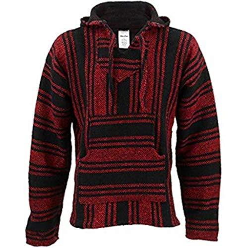 Sudadera de diseño tradicional mejicano, de color rojo y negro, con capucha...