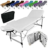 Vivezen ® Table de massage pliante 3 zones en aluminium + Accessoires et housse de transport - 10 coloris - Norme CE