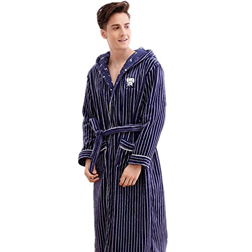 9fc64552db NIGHTSLEEP Men and women couple bathrobe 100% flannel fabric autumn and  winter couple pajamas thick robe loose blue