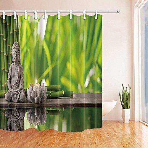Spa Decor Vorhang für die Dusche von gohebe asiatischen Zen Bambus und Stein BUDDHA und Kerze in grün Hintergrund Bad Vorhänge 180,3x 180,3cm (Star-dusche Vorhang-set)